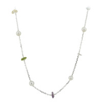 925 Sterling Silver Freshwater Pearls with Multicolor Simulated Chips Necklace