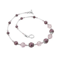 925 Sterling Silver Brown Simulated Pearl Necklace with Swarovski Elements Crystal
