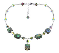 Sterling Silver Dyed Abalone Necklace with Swarovski Elements Crystal #SCNK078