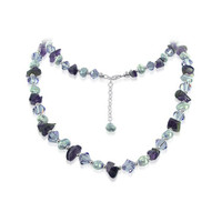 Sterling Silver Swarovski ElementsNugget Pearls & Crystal Necklace #SCNK090