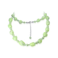 Sterling Silver Swarovski Elements Nugget Pearls & Crystal Necklace #SCNK091
