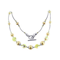 925 Sterling Silver Golden color Simulated Pearl Necklace with Swarovski Elements Crystal