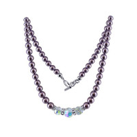 Sterling Silver Swarovski Elements Pearl & Clear Crystal Necklace #SCNK128