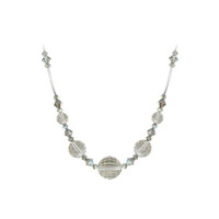 Sterling Silver Silver Shade Swarovski Elements Crystal Necklace #SCNK256