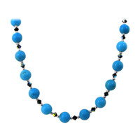 Sterling Silver Turquoise Beads Necklace with Swarovski Elements Crystal #SCNK289