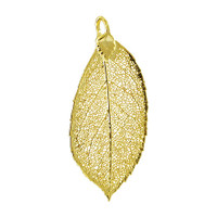 24k Yellow Gold Plated over Real Elm Leaf Pendant #LGP001