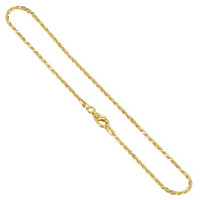 14k Gold over 925 Sterling Silver Vermeil 1.5mm Rope Chain Necklace