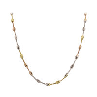 925 Sterling Silver Tri Color 3mm Chain Necklace 18 inch - 24 inch