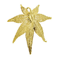 24k Yellow Gold Plated over Real Japanese Maple Leaf  Pendant