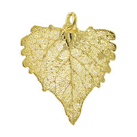 24k Yellow Gold Plated over Real Cottonwood Leaf Pendant #LGP007