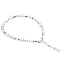 Swarovski Elements Simulated Pearl with Crystal 9 to 11 inch Ankle Bracelet
