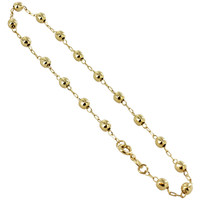 18k Gold Layered 4mm Ball Ankle Bracelet with Spring Ring Clasp