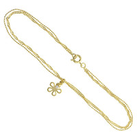 18K Gold Layered Multi Strand Chain with Flower with Cubic Zirconia 10 inch Ankle Bracelet