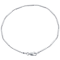Italian 925 Plain Sterling Silver Chain Ankle Bracelet With Spring Ring Clasp #ba002