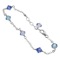 925 Sterling Silver Swarovski Elements Blue Bicone Crystal Ankle Bracelet