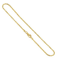 14k Gold over Sterling Silver Vermeil 1.5mm Rope Chain Ankle Bracelet #BDAGP002