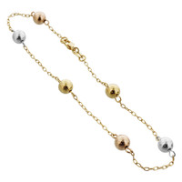 18k Gold Layered Ball Ankle Bracelet #HOAG051