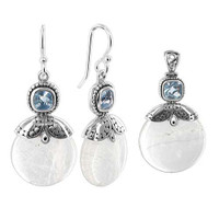 925 Sterling Silver Mother of Pearl Earrings Pendant Set #AFST005