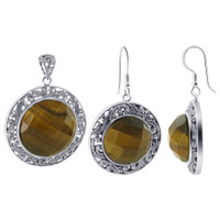 925 Sterling Silver Faceted Simulated Tiger Eye Earrings & Pendant Set