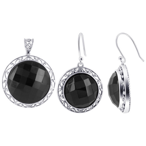 Black Onyx Earrings with 2 Circular Pendants 6Kqf3cKa7