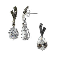 Sterling Silver Clear Stone Earrings and Pendant Jewelry Set #RUST078