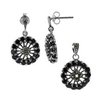 925 Sterling Silver Round Cubic Zirconia and Marcasite Earrings and Pendant Jewelry Set #RUST081