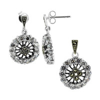 Sterling Silver Clear Cubic Zirconia and Marcasite Post Back Earrings and Pendant Jewelry Set #RUST085