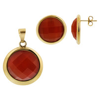 Stainless Steel Gold Tone Faceted Round Orange Stone Earrings and Pendant Set #TSSSST002