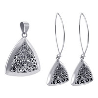925 Sterling Silver Marcasite Floral Designed Dangle Earrings and Pendant Jewelry Set #ZFST007