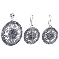 925 Sterling Silver Marcasite Accented Round Dangle Earrings and Pendant Jewelry Set