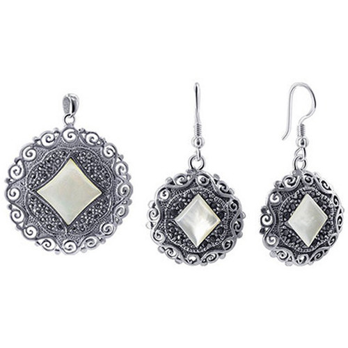 925 Sterling Silver Marcasite Floral Design and Mother of Pearl Dangle Earrings Pendant Jewelry Set