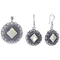 Sterling Silver MOP Marcasite Dangle Earrings Pendant Jewelry Set #ZFST015