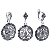 925 Sterling Silver Marcasite Accented Filigree Design Dangle Earrings Pendant Jewelry Set