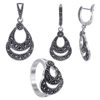 Sterling Silver Pear Shape Marcasite Earrings Pendant and Rings Size 6 #MSST003