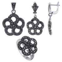 Sterling Silver Marcasite accented Round Floral Design Earrings Pendant & Rings Jewelry Set #MSST005