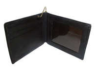 Lambskin Leather Credit Card Metal Clip Bifold Wallet #MW301162