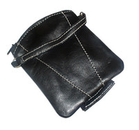 New Lambskin Leather Change Purse Money Wallet Available in Black and Tan Colors