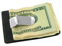 Leather and Metal Money Clip Credit Card Slot Available in Black and Brown Colors