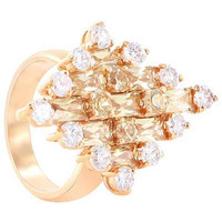 Rose Gold Layered Round Clear Cubic Zirconia Ring Size 7 #CLRS087-7