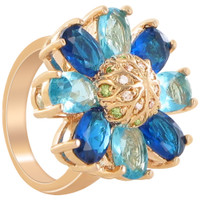 Rose Gold Layered Multicolor Cubic Zirconia Flower Ring Size 6 #CLRS094-6