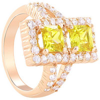 Rose Gold Layered Rectangle Citrine Cubic Zirconia Ring Size 7 #CLRS098-7