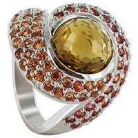925 Sterling Silver Whisky Quartz Orange and Red Sapphire 3mm Ring Size 7.5 #CLRS115-7.5