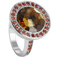 925 Sterling Silver Round Whisky Quartz and Red Sapphire Stone 3mm Ring Size 6.5 #CLRS117-6.5