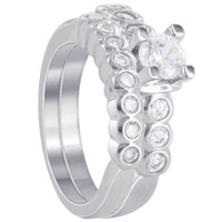 Sterling Silve CZ 3mm Engagement Ring Wedding Band Set Size 65