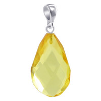 925 Sterling Silver Synthetic Teardrop Shape Faceted Amber Pendant