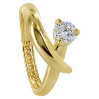 18k Gold Layered Cubic Zirconia 8mm Wide Ring Size 6.5 #HORG026-6.5