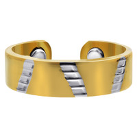 Two Tone Polished Finish Magnetic Band Size 7 & up #JRM06