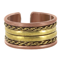 11mm wide Two Tone Finish Double Stripes Adjustable Fashion Ring