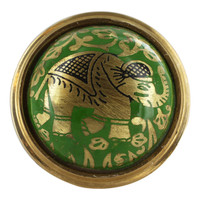 Round Plate with Elephant Design Green Enamel Ring Size 6 to 8 Adjustable #SBR007