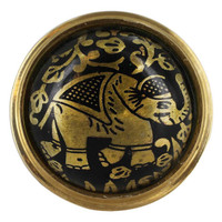 Round Plate with Elephant Design Black Enamel Ring Size 6 to 8 Adjustable #SBR011